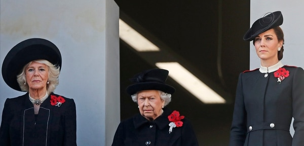 Britain's Queen Elizabeth II, center, Camilla, Duchess of Cornwall, and Kate, Duchess of Cambridge, right, attend the Remembrance Sunday ceremony at the Cenotaph in London, Sunday, Nov. 11, 2018. Remembrance Sunday is held each year to commemorate the service men and women who fought in past military conflicts. This year marks the centenary of the armistice and cessation of hostilities in WWI, which ended on the eleventh hour of the eleventh day of the eleventh month in 1918. (Alastair Grant/AP)