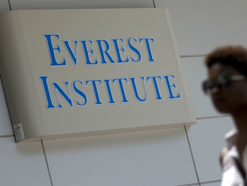The closure of for-profit college chain Corinthian Colleges, which operated the Everest Institute, pictured here, in 2015, followed by the closure of ITT Technical Institute campuses in 2016, left thousands of student veterans in the lurch. (AP Photo/Jose Luis Magana)