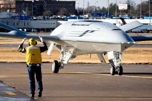 Defense News got the first in-person look at Boeing's offering for the Navy's MQ-25 competition, which it unveiled in December 2017. (Boeing)