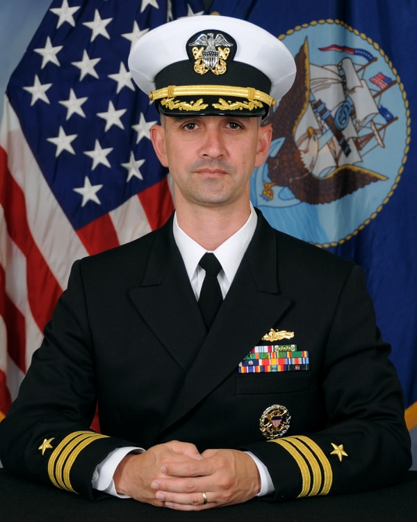 Cmdr. Alfredo Sanchez pleaded guilty to dereliction of duty today as part of a pretrial agreement. (Navy)