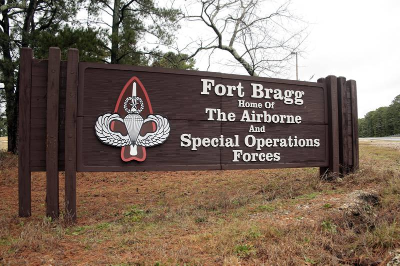 This Jan. 4, 2020, file photo shows a sign for at Fort Bragg, N.C.