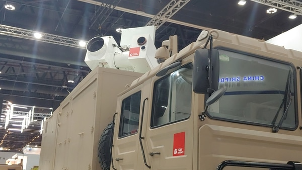 The Poly Defence Silent Hunter laser system at IDEX 2019. (Jeff Martin/Staff)