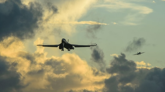 Two B-1B Lancer aircraft prepare to land during a Bomber Task Force deployment at Andersen Air Force Base in Guam this week. (Pacific Air Forces)