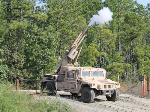 An automated direct/indirect mortar system suppresses enemy fire during a robotics demonstration at the Maneuver Center of Excellence at Fort Benning, Ga., on July 22, 2017. (Jen Judson/Staff)