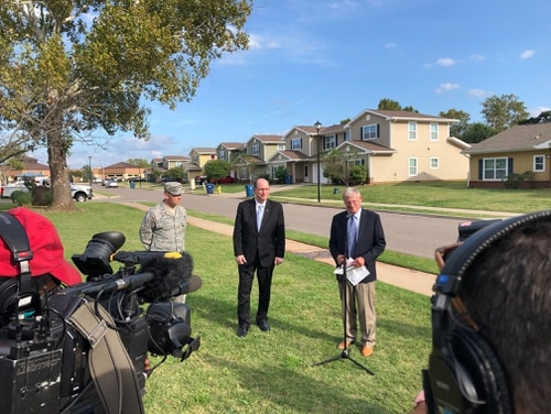 Sen. Jim Inhofe, R-Okla., holds a press conference to discuss housing problems at Tinker AFB. (Courtesy of Sen. Jim Inhofe)
