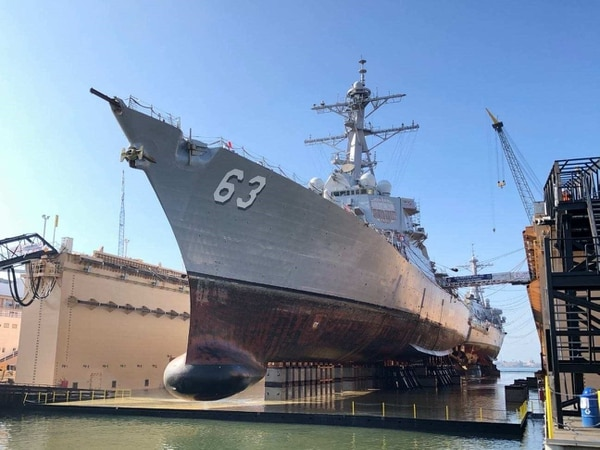 The destroyers Decatur and Stethem in BAE Systems' ship repair dry dock. (Laura Lakeway/U.S. Navy)