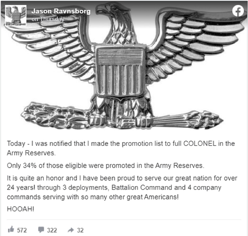 South Dakota Attorney General Jason Ravnsborg, an Army Reserve officer who is under investigation after running over and killing a pedestrian with his car, announced his promotion to Colonel in a Facebook post on April 8. (Via Facebook)