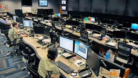The Cyber Operations Center on Fort Gordon, Ga., is home to signal and military intelligence noncommissioned officers, who watch for and respond to network attacks from adversaries as varied as nation-states, terrorists and hacktivists. The center was sanitized of classified information for this photo. (Michael L. Lewis via U.S. Army)