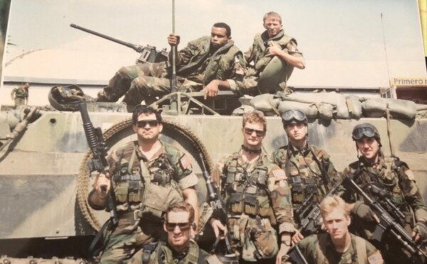 Former Delta operator Norman Hooten (bottom right) pictured with other special operations soldiers in Somalia.