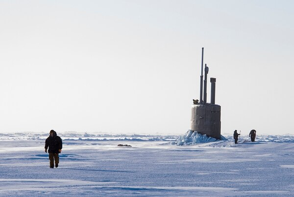 The submarine Connecticut breaks though the ice in the Beaufort Sea in support of Ice Exercise 2018 to assess operational readiness in the Arctic. (MC2 Micheal H. Lee/Navy)