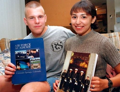 In this June 1996 file photo, David Graham and fiance Diane Zamora are shown in Fort Worth, Texas, after having received appointments to the U.S. Air Force Academy and Naval Academy, respectively. Zamora, a female former Naval Academy midshipman, is currently serving a life sentence for the 1995 slaying of the high school girlfriend of Graham, who was also convicted of murder in the teenage love triangle. (Robert J. Ruiz/Star-Telegram via AP, File)