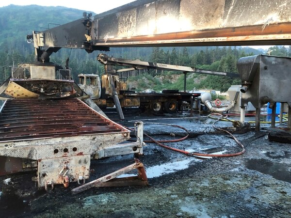 The aftermath of an explosion and fire destroyed the fishing boat Alaganik at a dock in Whittier Alaska, on Monday. (U.S. Coast Guard via AP)