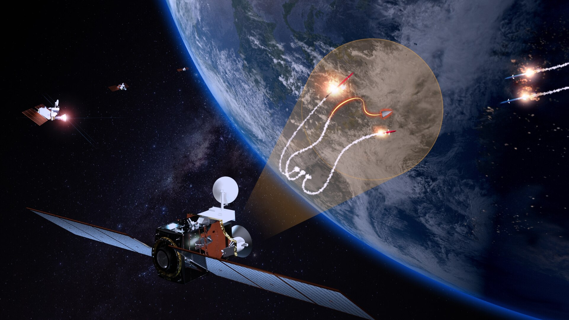 An artist's depiction of L3Harris' tracking layer satellite, which will be part of a solution designed by the Space Development Agency and the Missile Defense Agency to track and target hypersonic weapons from space. (L3Harris)