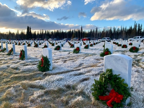The Fort Richardson National Cemetery in Alaska is shown on Dec. 14, 2019. On Friday, Veterans Affairs officials announced new restrictions at cemeteries nationwide to help limit the spread of the coronavirus. (Derrick Crawford/Army