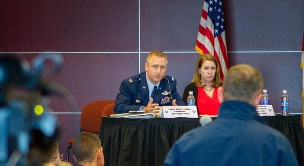 Col. Brian Laidlaw, commander of the 325th Fighter Wing at Tyndall AFB, answers a question from an attendee during the industry day Jan. 31. (2nd Lt. Michael Dunham/Air Force)
