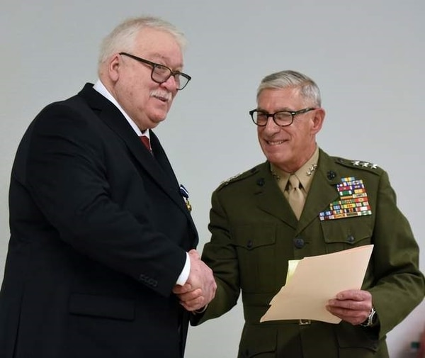 James Stogner (left) was presented the Navy Cross by Ret. Lt. Gen. Frank Libutti on April 5, 2019. Libutti was a second lieutenant when he served with Stogner during the Vietnam War.