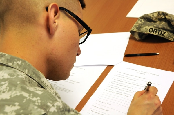 Staff Sgt. Victor Ortiz completes his written exam on the first day of the Installation Management Command-Europe Best Warrior Competition in the Grafenwoehr Training Area in Grafenwoehr, Germany, April 3, 2012. The IMCOM-E Best Warrior Competition identifies the best soldier and non-commissioned officer to represent IMCOM-Europe in the 2012 Department of the Army Non-commissioned Officer and Soldier of the Year