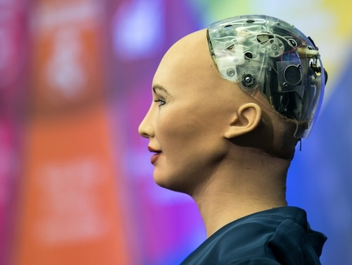 Hanson Robotics' humanoid robot, Sophia, uses artificial intelligence to socialize with humans. DARPA wants to use artificial intelligence to equip machines with the capability to learn and reason. (Hanson Robotics Ltd.)