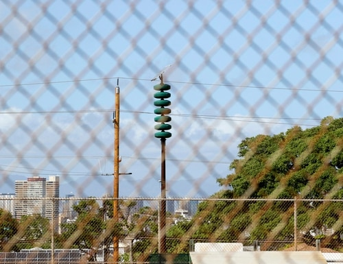 A Hawaii Civil Defense Warning Device, which sounds an alert siren during natural disasters, is shown in Honolulu on Wednesday, Nov. 29, 2017. (Caleb JonesAP)