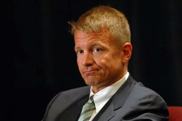 Blackwater founder Erik Prince, pictured here during a panel discussion in 2007, has proposed using his company's private air force to support the Afghans' fight against the Taliban and other militants. (Sara D. Davis/AP)