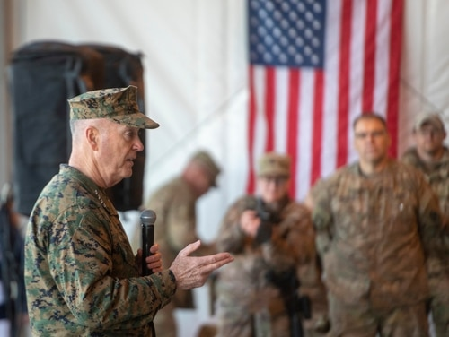 Marine Corps Gen. Joe Dunford, chairman of the Joint Chiefs of Staff, meets with deployed service members across Afghanistan, Dec. 24, 2018. Dunford visited service members who are away from home during the holidays at Bagram Air Field, Kandahar Air Field, and Forward Operating Base Dahlke. (Navy Petty Officer 1st Class Dominique A. Pineiro/DoD)