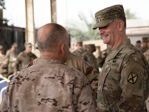 Maj. Gen. Walter Piatt, former commander of the Combined Joint Forces Land Component Command, now serves under the Combined Joint Task Force-Operation Inherent Resolve following the announcement of the end of major combat operations in Iraq against the Islamic State. (Staff Sgt. Michael Reinsch/Army)
