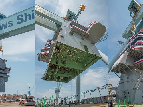 Three different views of the ship's island as it's hauled up and across the flight deck of the aircraft carrier John F. Kennedy on Wednesday at Huntington Ingalls Newport News, where the ship is being built. (Mark D. Faram/Staff)