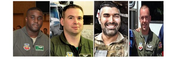 Staff Sgt. Dashan Briggs, from left, Capt. Andreas O'Keeffe, Master Sgt. Christopher Raguso and Capt. Christopher Zanetis were among the seven airmen killed March 15 when an HH-60 Pave Hawk crashed in western Iraq. These four airmen were assigned to the New York Air National Guard's 106th Rescue Wing. (Air Force)