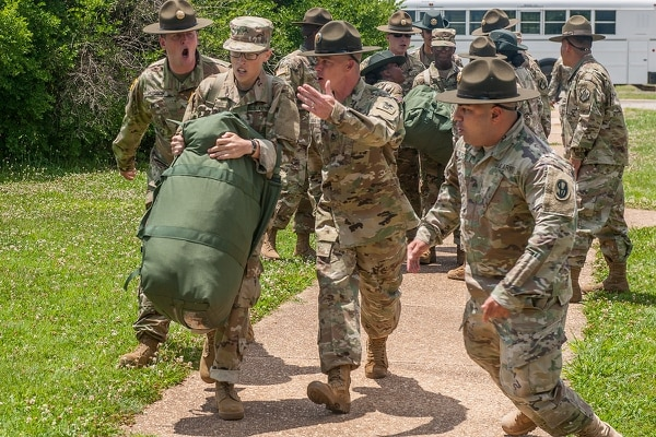 Drill sergeants welcome their first company of soldiers to Fort Leonard Wood, Missouri. (Stephen Standifird/Army)