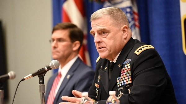 Army Chief of Staff Gen. Mark Milley, right, and Army Secretary Mark Esper, left, during a press conference in October. The two appeared before the Senate Appropriations Committee on Wednesday. (Stephen Barrett/Special to Defense News & Army Times)