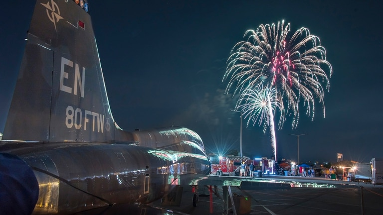 Sheppard Air Force Base, Texas, opens its gates to the public in celebration of Independence Day, July 4, 2017. Thousands of Texomans filled the base to enjoy Freedom Fest; a free event which featured three live bands, aircraft displays, food trucks galore, and an extravagant firework display to cap off the evening. (U.S. Air Force photo by Staff Sgt. Kyle E. Gese)