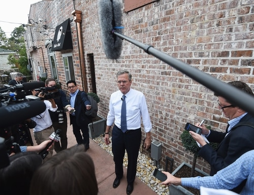 Republican presidential candidate, former Florida Gov. Jeb Bush speaks to the media during a campaign stop, Tuesday, Nov. 17, 2015, in Florence, S.C. Bush called the struggle against the Islamic State group