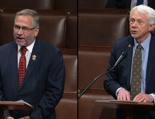 Rep. Mike Bost, R-Ill., (left) and Rep. Jack Bergman, R-Mich., (right) will vie this week for the post of ranking member of the House Veterans' Affairs Committee (Photos via House Television)