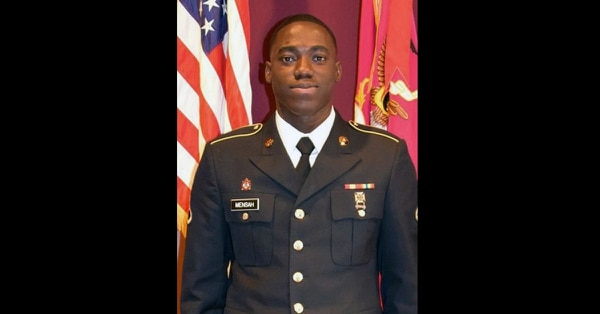 This photo provided by the Army National Guard shows Pfc. Emmanuel Mensah. Mensah raced repeatedly into a burning New York City apartment building on Dec. 28, saving four people before he died in flames that also claimed a dozen other lives. (United States Army National Guard)