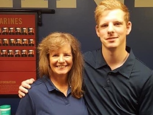 Pfc. Jack Ostrovsky, one of the Marines lost in the July 30 amphibious assault vehicle accident, poses with his mother Lynn Ostrovsky. (Ostrovsky family)