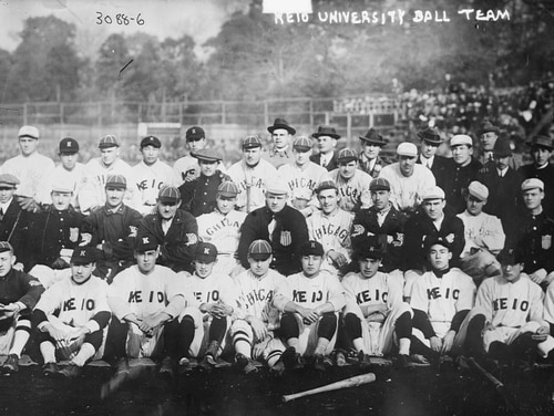 Keio University (Japan) baseball players with stars from the Chicago White Sox and New York Giants World Tour of 1913-14. (Bain News Service, now in the Library of Congress)