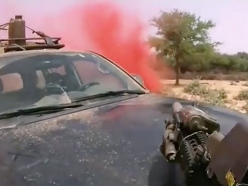 This is a screenshot from helmet cam footage of the Niger ambush that was leaked online by members of the Islamic State on March 4.