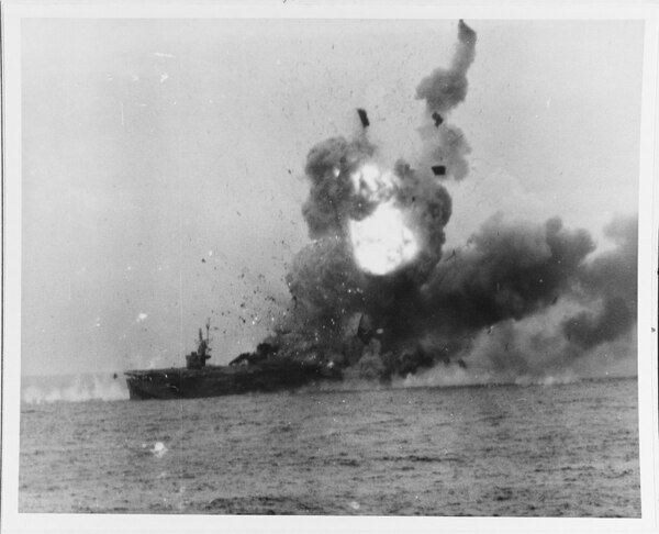 Battle of Leyte Gulf, October 1944. Caption: Explosion on the escort carrier St. Lo (CVE-63) after it was hit be a Kamikaze off Samar on 25 October 1944. (Photograph by Willard Nieth, now in the collections of the National Archives)