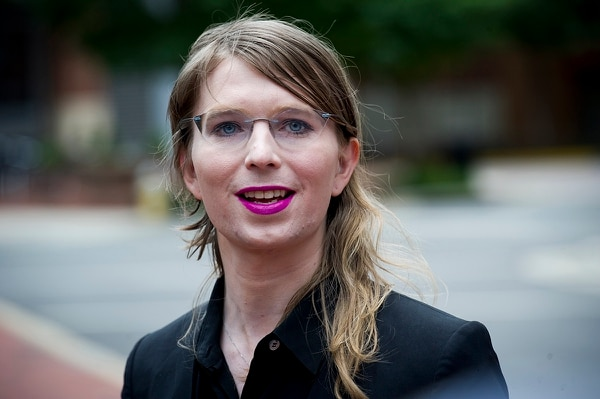 In this May 16, 2019, file photo. former Army intelligence analyst Chelsea Manning speaks with reporters, outside federal court in Alexandria, Va. (Cliff Owen/AP)