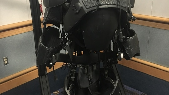 U.S. Special Operations Command has a team developing an Iron-Man-like suit for special operators. The suit pictured here was taken in 2017, but was on display in the same spot at the SOFIC conference in Tampa Bay, Florida, in May 2018, quite unchanged. The design is simply to show what a suit could look like at the end of the road, but is not intended to look like what will ultimately be built. (Photo by Jen Judson/Defense News staff)