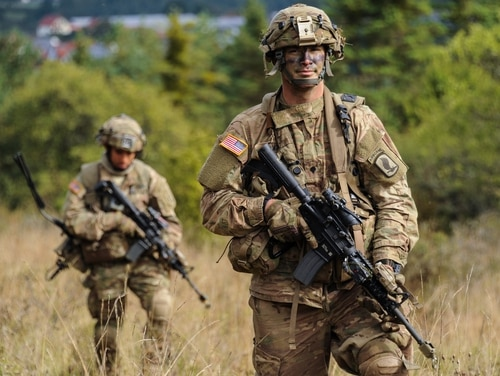 U.S. Soldiers with Charlie Company, 1st Battalion, 503rd Infantry Regiment, 173rd Airborne Brigade, conduct a foot patrol during Exercise Allied Spirit V at the 7th Army Training Command's Hohenfels Training Area, Germany, Oct. 8, 2016. Exercise Allied Spirit includes about 2,520 participants from eight NATO nations, and exercises tactical interoperability and tests secure communications within Alliance members and partner nations. (U.S. Army photo by Markus Rauchenberger)