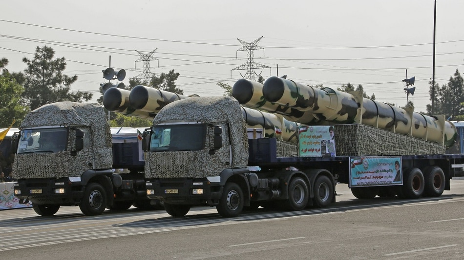 An Iranian military truck carries the new Kamin-2 air defense missile system during a parade on the occasion of the country's annual Army Day on April 18, 2018, in Tehran. (Atta Kenare/AFP via Getty Images)