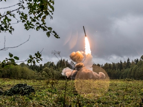 A Russian Iskander-K missile is launched during a military exercise at the Luzhsky Range, near St. Petersburg, Russia. President Vladimir Putin rejected the U.S. claim that Russia violated the 1987 Intermediate-Range Nuclear Forces Treaty by developing a new cruise missile, saying that Russia has other weapons that can do the job. (Russian Defense Ministry Press Service via AP/File)