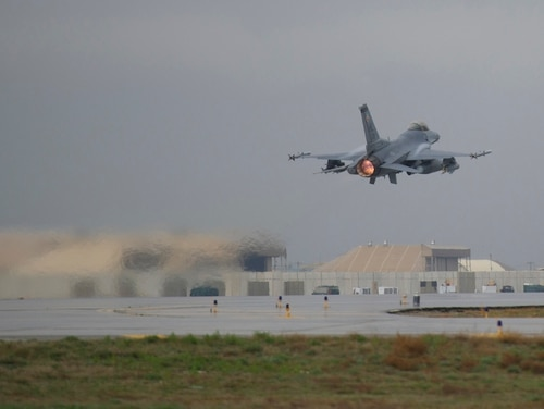 An F-16 Fighting Falcon takes off at Bagram Air Field, Afghanistan, on a combat sortie on March 14, 2016. (Tech. Sgt. Robert Cloys/Air Force)