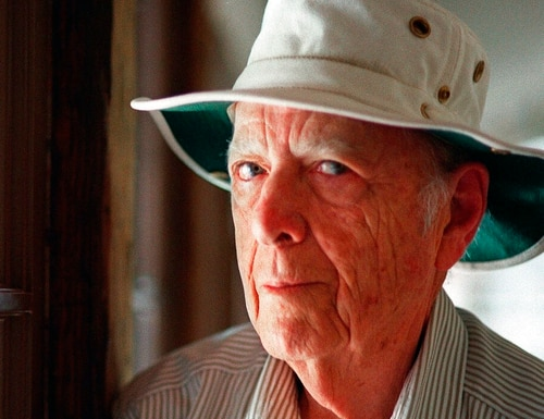 This May 15, 2000 photo shows Pulitzer Prize-winning author Herman Wouk in Palm Springs, Calif. Wouk died in his sleep early Friday, May 17, 2019, according to his literary agent Amy Rennert. He was 103. (Douglas L. Benc Jr./AP)