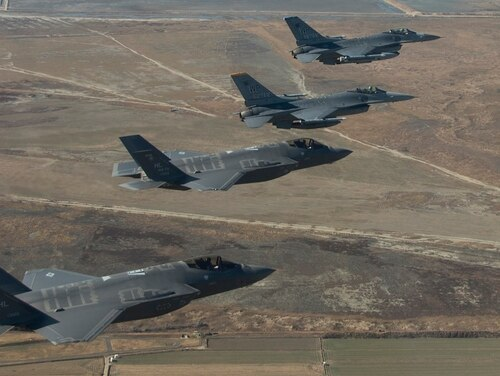F-16 Fighting Falcons from Kunsan Air Base, Republic of Korea, and F-35s from Hill Air Force Base, Utah, train together in Korea in December 2017 to test the capabilities of the fifth-generation aircraft during integrated flight operations. (Tech. Sgt. Josh Rosales/Air Force)