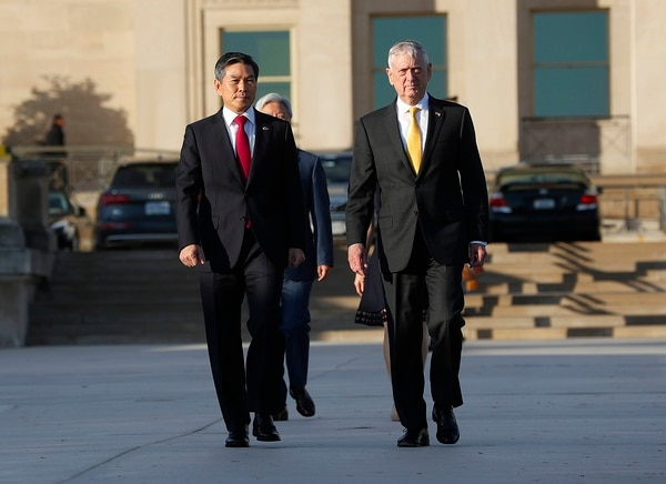 Defense Secretary Jim Mattis, right, and South Korea Minister of Defense Jeong Kyeong-doo, left, arrive to begin reviewing the troops as they co-host the 2018 Security Consultative at the Pentagon, Wednesday, Oct. 31, 2018. (Pablo Martinez Monsivais/AP)