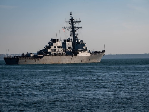 The Arleigh Burke-class guided-missile destroyer USS Carney (DDG 64) prepares to go underway in the Black Sea on July 2 during exercise Sea Breeze 2019 in Odesa, Ukraine. (Mass Communication Specialist 3rd Class T. Logan Keown/Navy)