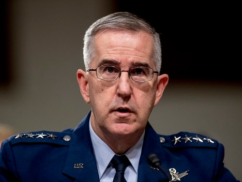 In this April 11, 2019, file photo, Gen. John Hyten, U.S. Strategic Command Commander, testifies before a Senate Armed Services Committee hearing on Capitol Hill in Washington. (Andrew Harnik/AP)