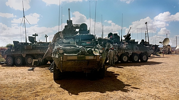 Soldiers from 1st Stryker Brigade Combat Team, 1st Armored Division operate Stryker vehicles equipped with Warfighter Information Tactical Increment 2 (WIN-T Inc 2) networked systems as part of the Network Integration Evaluation (NIE) 15.1 test for record taking place through the end of October, 2014 at Fort Bliss, Texas. This test marks the first evaluation of WIN-T integrated onto Stryker platforms. Soldiers from two 1st Armored Division brigades are participating in NIE 15.1, which is dedicated to WIN-T Increment 2 Follow-on Operational Testing and Evaluation. WIN-T Increment 2 provides Soldiers with mobile high-bandwidth satellite connectivity and is critical to Army Mission Command Modernization.